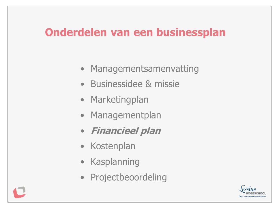 Investeringsplan Financieringsplan Kasplanning (zie later) Financieel plan