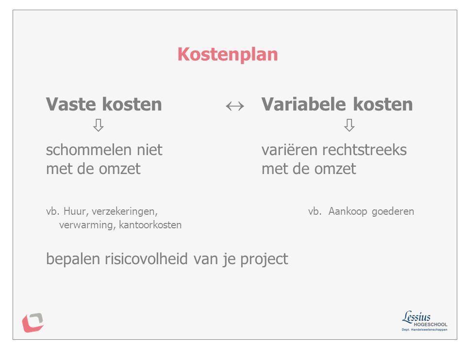 Gebouwen /lokaalkosten: –Huur, onderhoud, verwarming Afschrijvingen –aanschafprijs investeringen spreiden over ec.