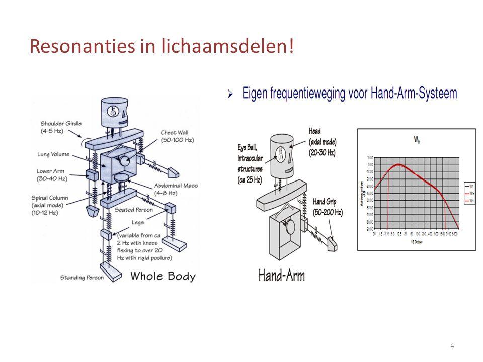 Voor hand/arm trillingen Er is maar één frequentieweging, toepasbaar op alle assen : w h  a eq,wh,x, a eq,wh,y, a eq,wh,z 15