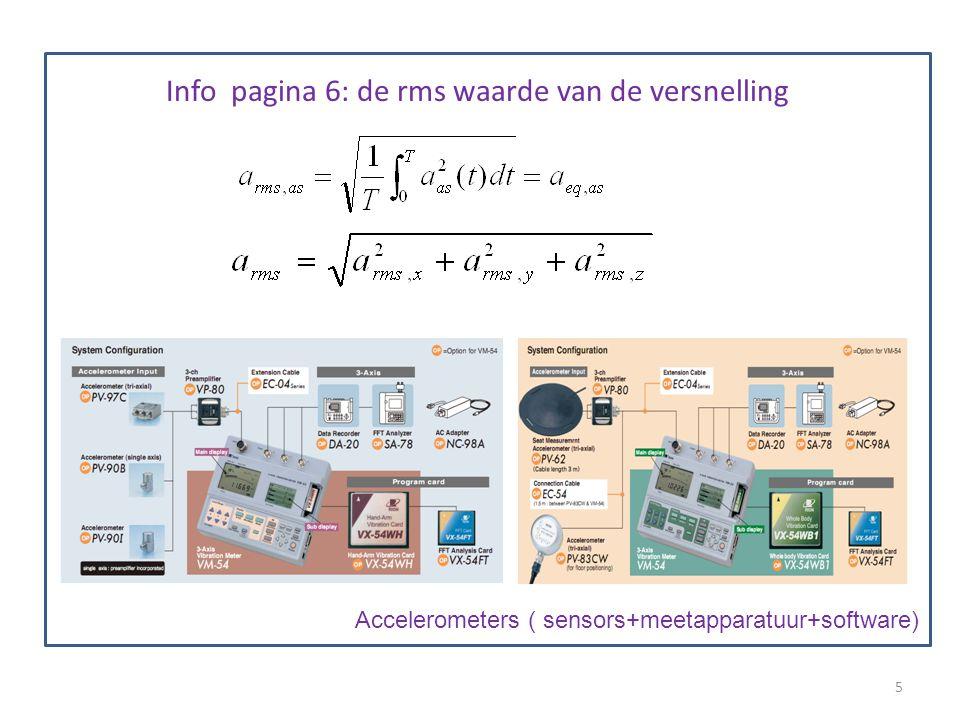 De relevante meetgrootheid De versnelling ten gevolge van de trilling : a de amplitude van de RMS waarde van de versnelling gemeten volgens 3 assen (a x,a y,a z ) Meettoestel: accelerometer ( sensor= piëzo-electrisch kristal).