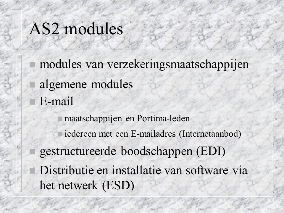 AS2 modules n modules van verzekeringsmaatschappijen n algemene modules n E-mail n maatschappijen en Portima-leden n iedereen met een E-mailadres (Internetaanbod) n gestructureerde boodschappen (EDI) n Distributie en installatie van software via het netwerk (ESD)