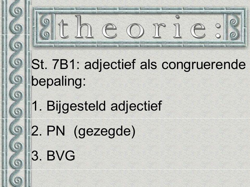 St. 7B1: adjectief als congruerende bepaling: 1. Bijgesteld adjectief 2. PN (gezegde) 3. BVG