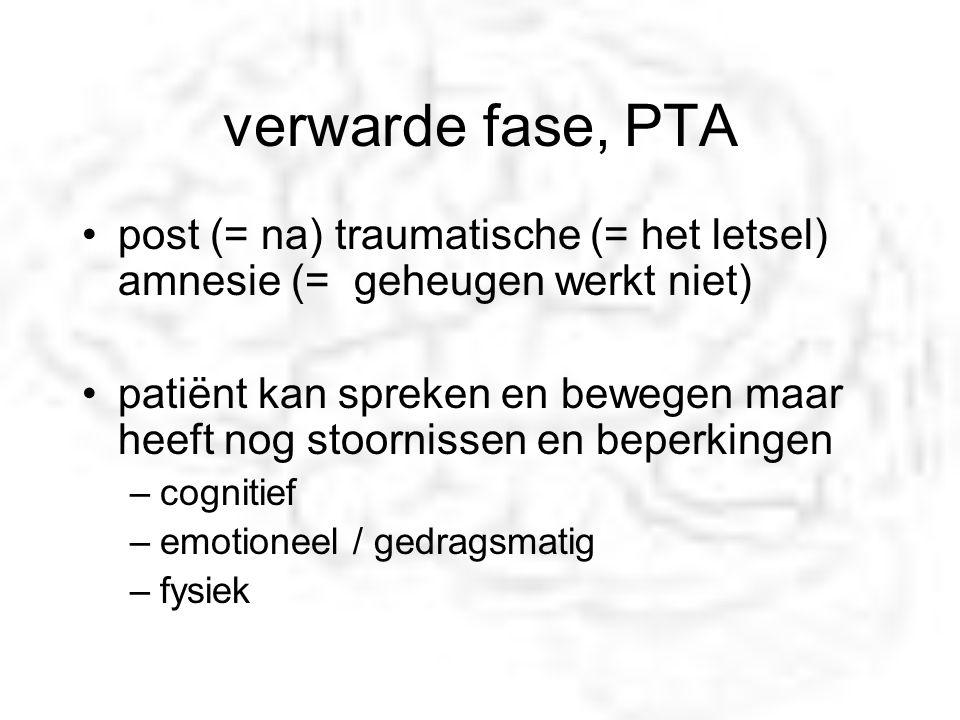 verwarde fase, PTA post (= na) traumatische (= het letsel) amnesie (= geheugen werkt niet) patiënt kan spreken en bewegen maar heeft nog stoornissen e