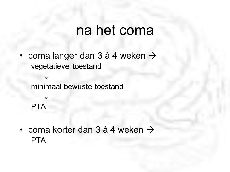 na het coma coma langer dan 3 à 4 weken  vegetatieve toestand  minimaal bewuste toestand  PTA coma korter dan 3 à 4 weken  PTA