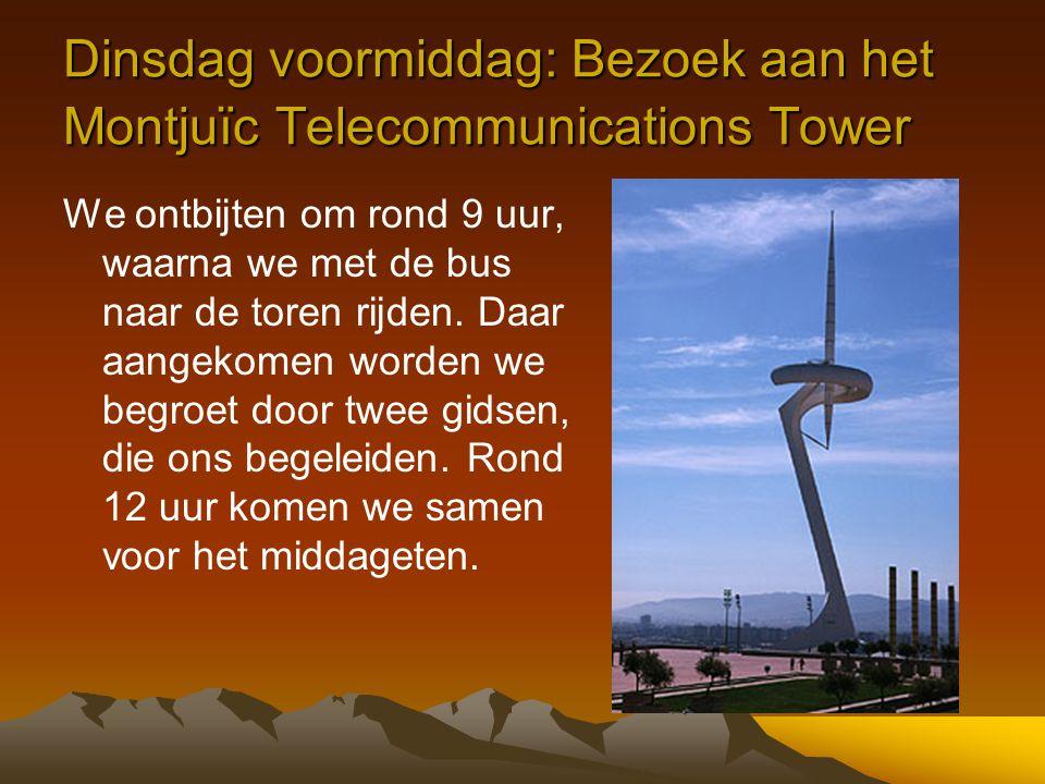 Dinsdag voormiddag: Bezoek aan het Montjuïc Telecommunications Tower We ontbijten om rond 9 uur, waarna we met de bus naar de toren rijden. Daar aange