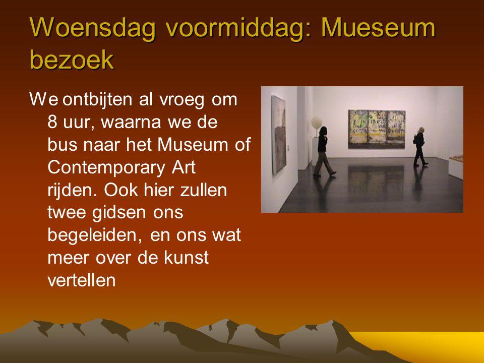 Woensdag voormiddag: Mueseum bezoek We ontbijten al vroeg om 8 uur, waarna we de bus naar het Museum of Contemporary Art rijden. Ook hier zullen twee