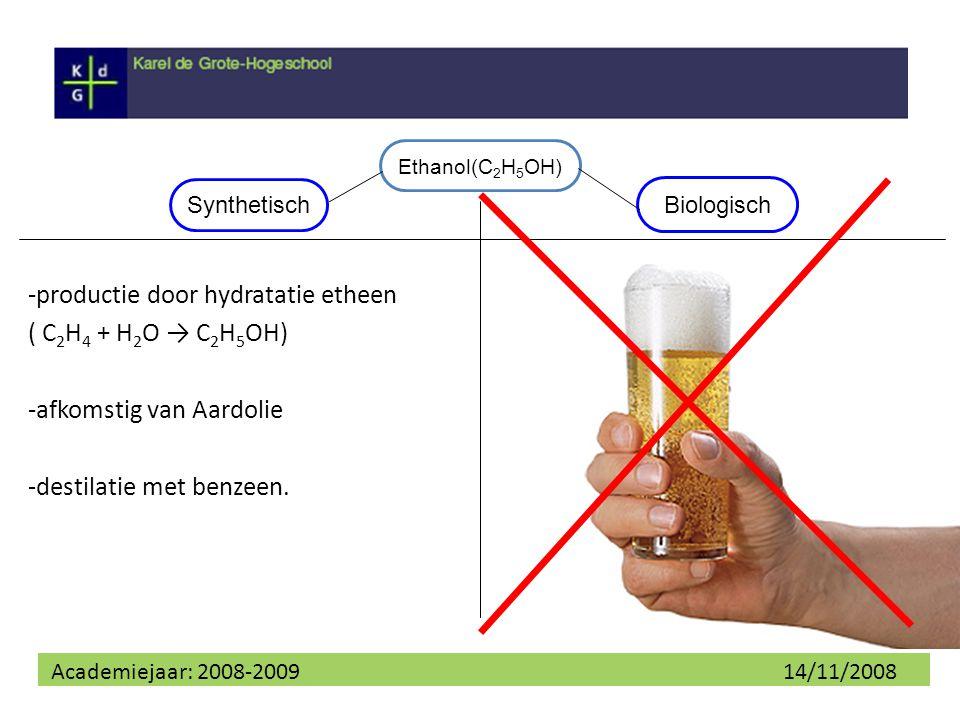 Academiejaar: 2008-2009 14/11/2008 Hydratatie etheen *Zure katalysator -negatieve π-wolk van etheen word aangevallen -ongebonden elektronen O vallen radicaal aan - het elektron van één H binding word afgenomen onder vorming van een proton