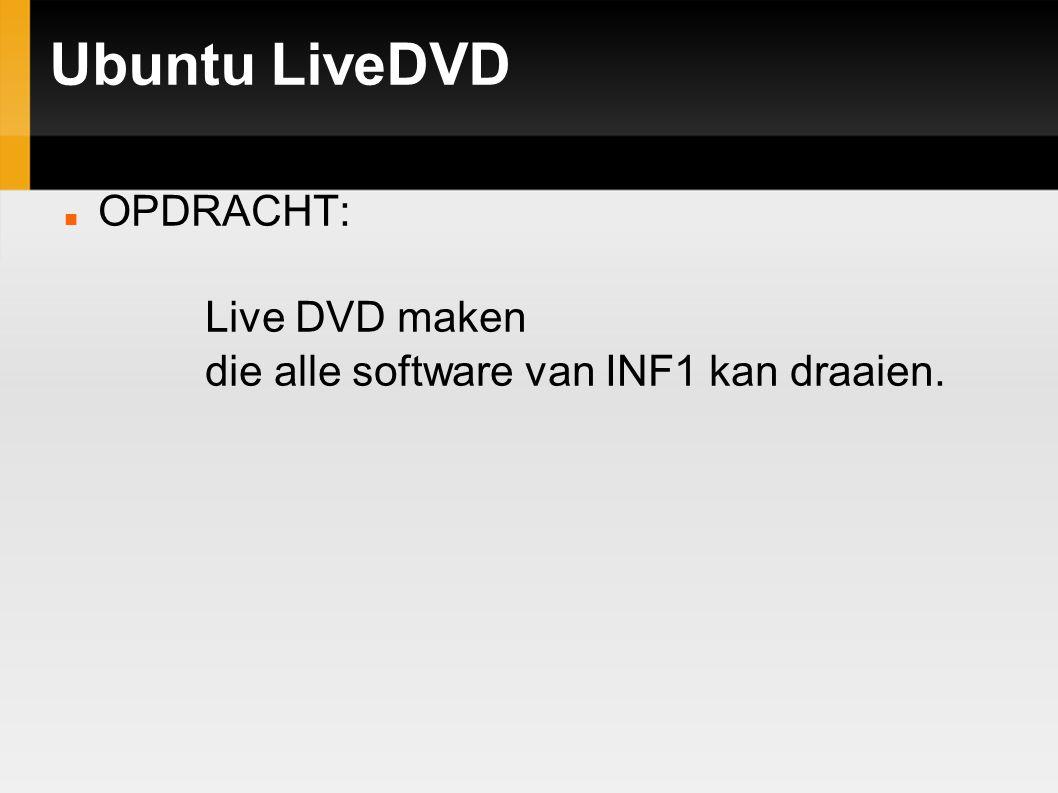 Ubuntu LiveDVD OPDRACHT: Live DVD maken die alle software van INF1 kan draaien.