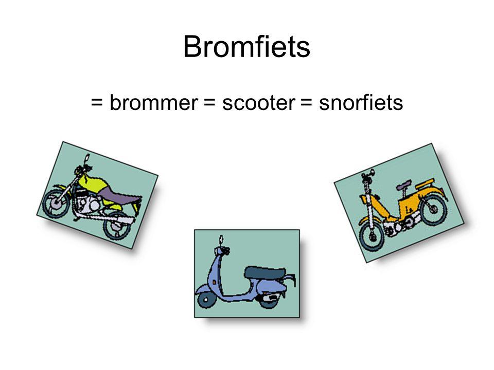 Bromfiets = brommer = scooter = snorfiets
