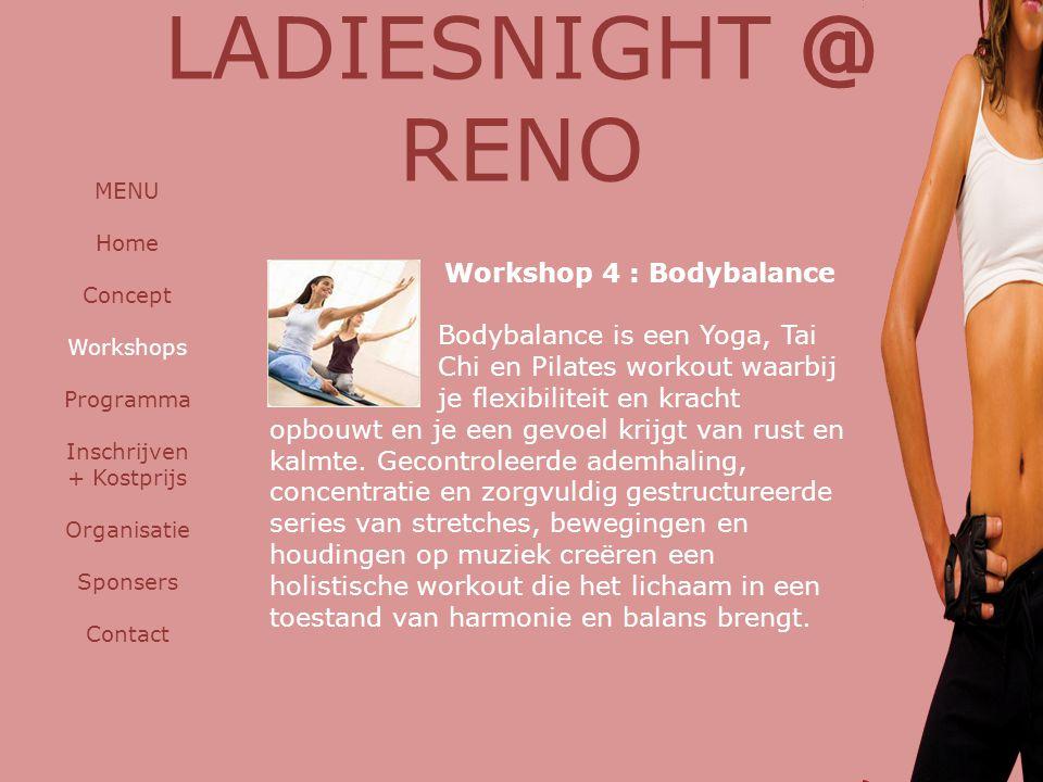 Workshop 4 : Bodybalance Bodybalance is een Yoga, Tai Chi en Pilates workout waarbij je flexibiliteit en kracht opbouwt en je een gevoel krijgt van rust en kalmte.