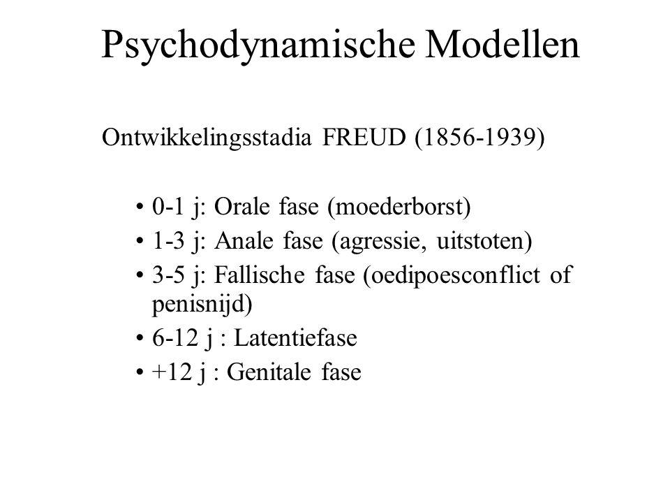 Psychodynamische Modellen Ontwikkelingsstadia FREUD (1856-1939) 0-1 j: Orale fase (moederborst) 1-3 j: Anale fase (agressie, uitstoten) 3-5 j: Fallisc