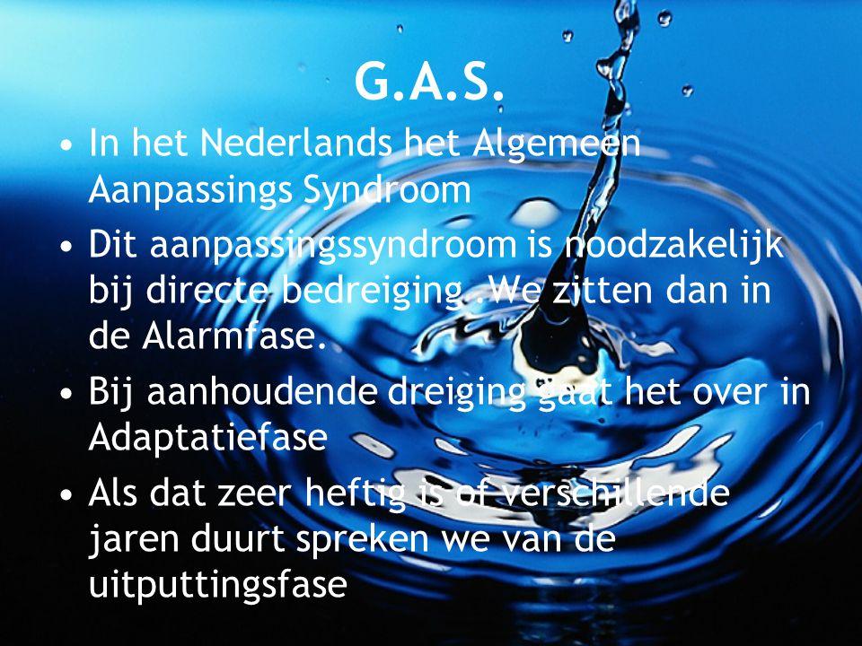 G.A.S. In het Nederlands het Algemeen Aanpassings Syndroom Dit aanpassingssyndroom is noodzakelijk bij directe bedreiging.We zitten dan in de Alarmfas