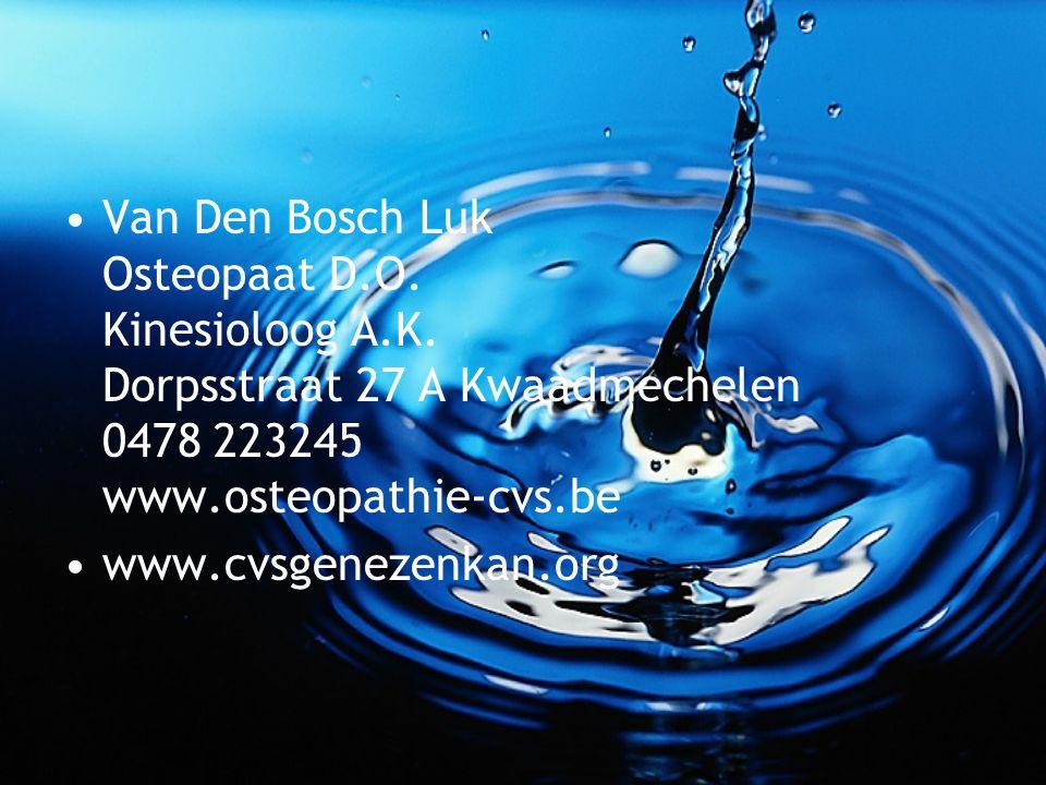 Van Den Bosch Luk Osteopaat D.O. Kinesioloog A.K. Dorpsstraat 27 A Kwaadmechelen 0478 223245 www.osteopathie-cvs.be www.cvsgenezenkan.org