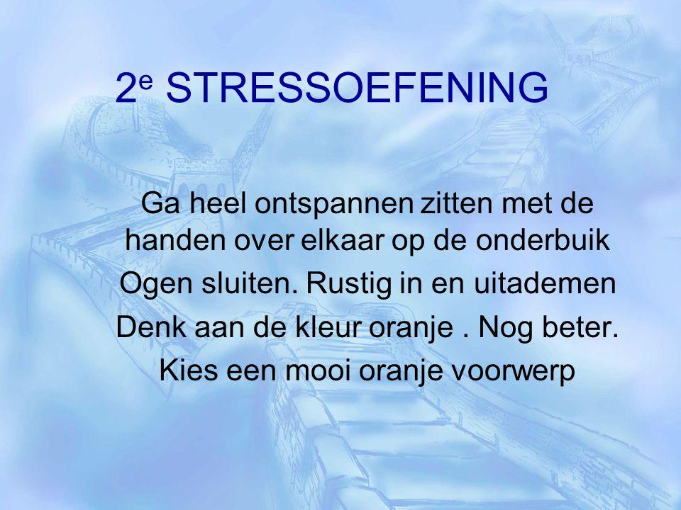2 e STRESSOEFENING Ga heel ontspannen zitten met de handen over elkaar op de onderbuik Ogen sluiten. Rustig in en uitademen Denk aan de kleur oranje.