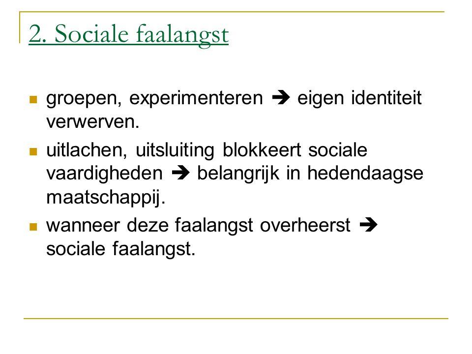 2. Sociale faalangst groepen, experimenteren  eigen identiteit verwerven. uitlachen, uitsluiting blokkeert sociale vaardigheden  belangrijk in heden