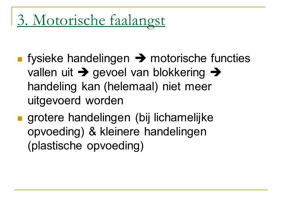 3. Motorische faalangst fysieke handelingen  motorische functies vallen uit  gevoel van blokkering  handeling kan (helemaal) niet meer uitgevoerd w