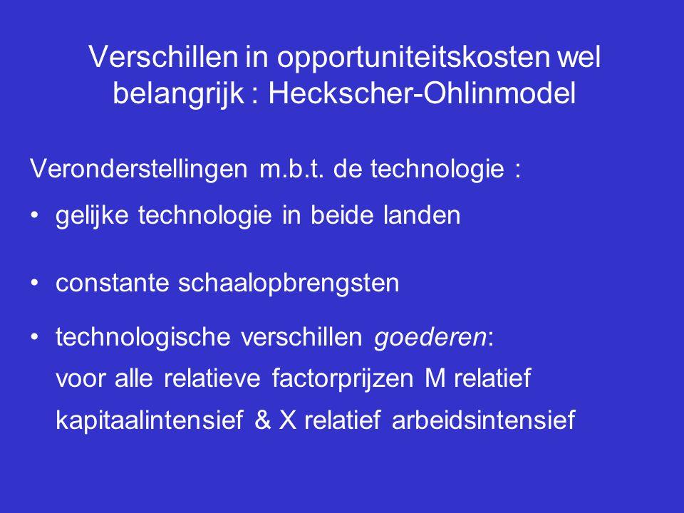Verschillen in opportuniteitskosten wel belangrijk : Heckscher-Ohlinmodel Veronderstellingen m.b.t. de technologie : gelijke technologie in beide land