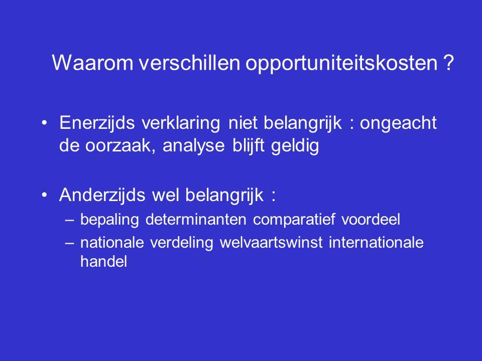Waarom verschillen opportuniteitskosten ? Enerzijds verklaring niet belangrijk : ongeacht de oorzaak, analyse blijft geldig Anderzijds wel belangrijk