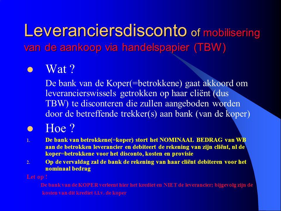 Leveranciersdisconto of mobilisering van de aankoop via handelspapier (TBW) Wat ? De bank van de Koper(=betrokkene) gaat akkoord om leverancierswissel