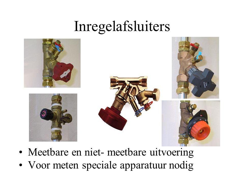 Inregelafsluiters Meetbare en niet- meetbare uitvoering Voor meten speciale apparatuur nodig