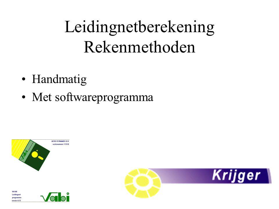 Leidingnetberekening Rekenmethoden Handmatig Met softwareprogramma