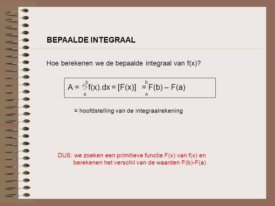 BEPAALDE INTEGRAAL Hoe berekenen we de bepaalde integraal van f(x)? A =  f(x).dx = [F(x)] = F(b) – F(a) baba baba = hoofdstelling van de integraalrek