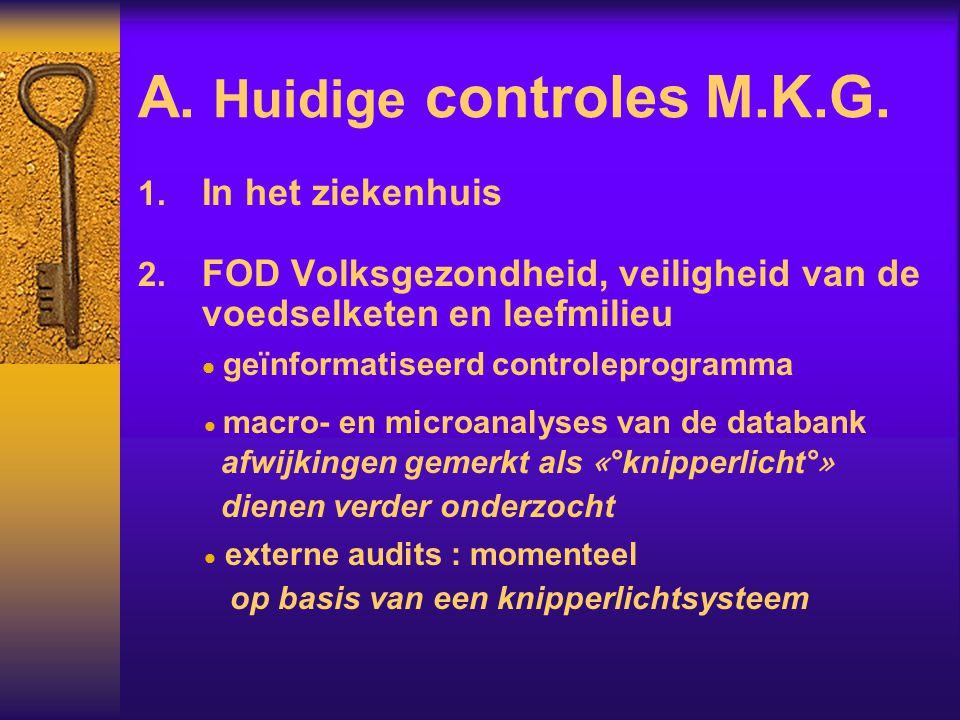 A. Huidige controles M.K.G.  In het ziekenhuis  FOD Volksgezondheid, veiligheid van de voedselketen en leefmilieu  geïnformatiseerd controleprogr