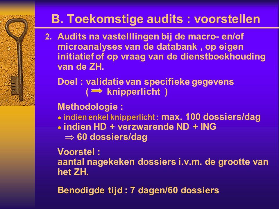  Audits na vastelllingen bij de macro- en/of microanalyses van de databank, op eigen initiatief of op vraag van de dienstboekhouding van de ZH. Doel