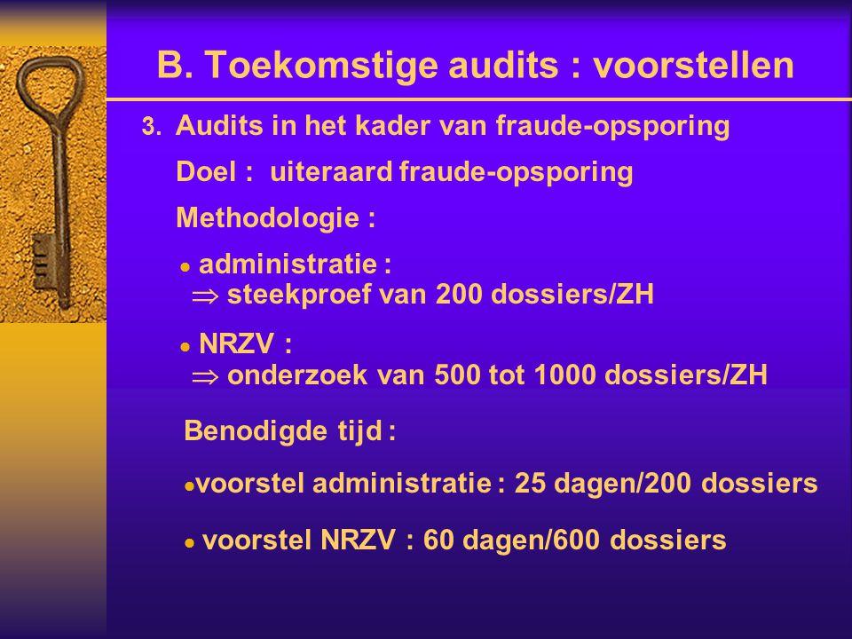  Audits in het kader van fraude-opsporing Doel : uiteraard fraude-opsporing Methodologie :  administratie :  steekproef van 200 dossiers/ZH  NRZV :  onderzoek van 500 tot 1000 dossiers/ZH Benodigde tijd :  voorstel administratie : 25 dagen/200 dossiers  voorstel NRZV : 60 dagen/600 dossiers B.