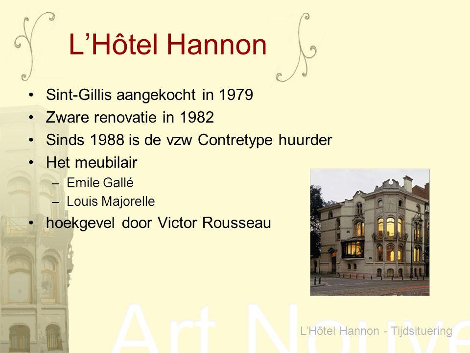 Sint-Gillis aangekocht in 1979 Zware renovatie in 1982 Sinds 1988 is de vzw Contretype huurder Het meubilair –Emile Gallé –Louis Majorelle hoekgevel d