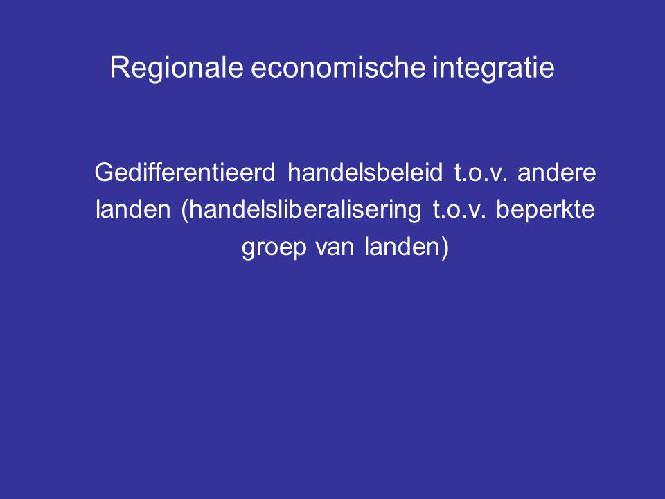 Regionale economische integratie Gedifferentieerd handelsbeleid t.o.v. andere landen (handelsliberalisering t.o.v. beperkte groep van landen)