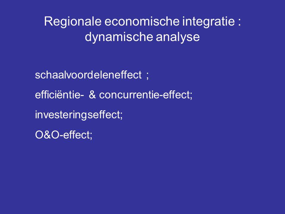 Regionale economische integratie : dynamische analyse schaalvoordeleneffect ; efficiëntie- & concurrentie-effect; investeringseffect; O&O-effect;