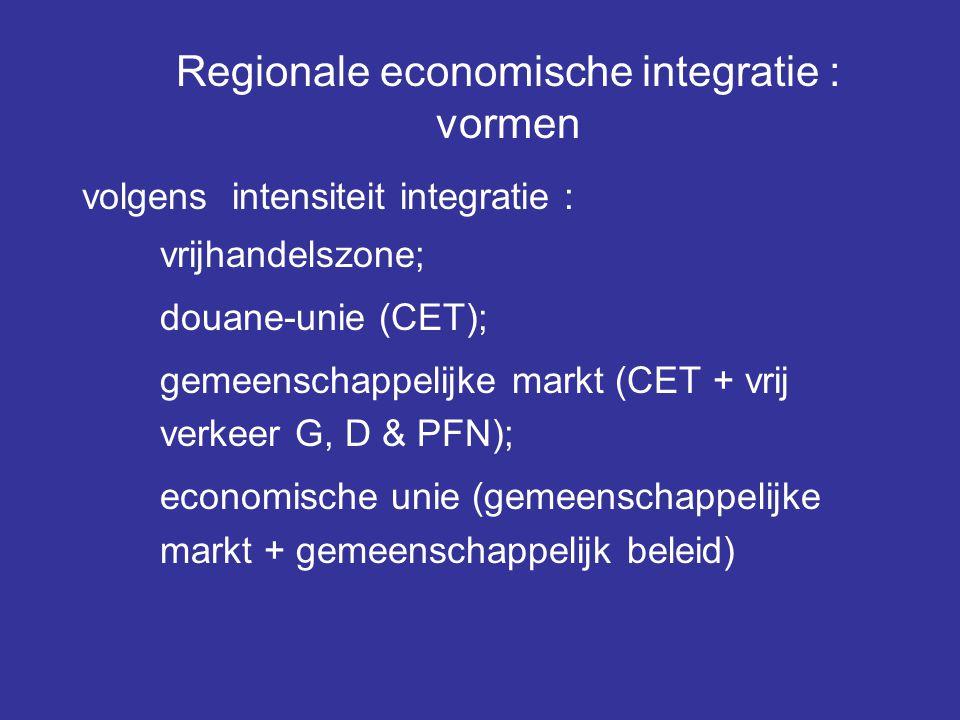 Regionale economische integratie : vormen volgens intensiteit integratie : vrijhandelszone; douane-unie (CET); gemeenschappelijke markt (CET + vrij ve