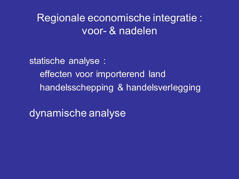 Regionale economische integratie : voor- & nadelen statische analyse : effecten voor importerend land handelsschepping & handelsverlegging dynamische