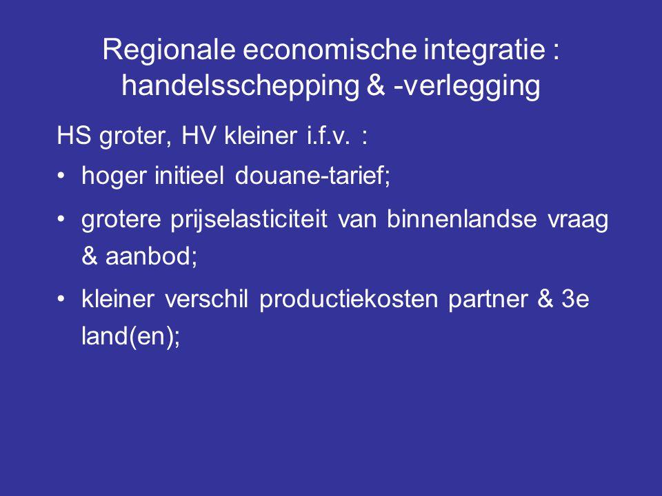 Regionale economische integratie : handelsschepping & -verlegging HS groter, HV kleiner i.f.v. : hoger initieel douane-tarief; grotere prijselasticite