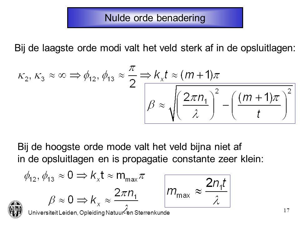 Universiteit Leiden, Opleiding Natuur- en Sterrenkunde 17 Nulde orde benadering Bij de laagste orde modi valt het veld sterk af in de opsluitlagen: Bi