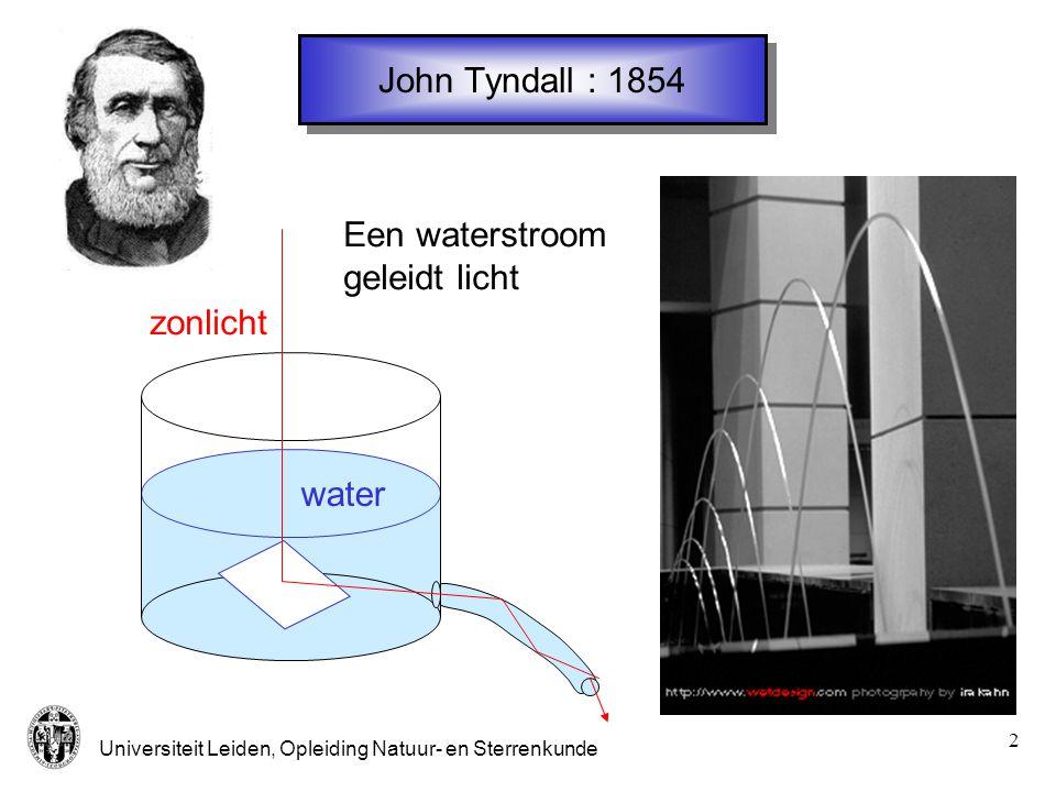 Universiteit Leiden, Opleiding Natuur- en Sterrenkunde 2 John Tyndall : 1854 Een waterstroom geleidt licht water zonlicht