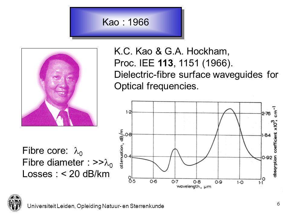 Universiteit Leiden, Opleiding Natuur- en Sterrenkunde 6 Kao : 1966 K.C. Kao & G.A. Hockham, Proc. IEE 113, 1151 (1966). Dielectric-fibre surface wave