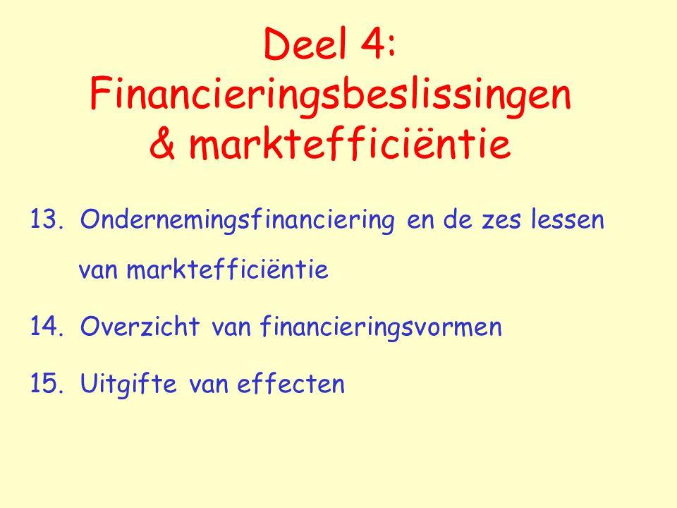Financieringsbeslissingen   investeringsbeslissingen gemakkelijker omkeerbaar minder snel financieel voordeel uit te halen  omwille van de marktefficiëntie