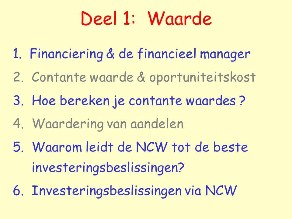 Deel 1: Waarde 1. Financiering & de financieel manager 2. Contante waarde & oportuniteitskost 3. Hoe bereken je contante waardes ? 4. Waardering van a