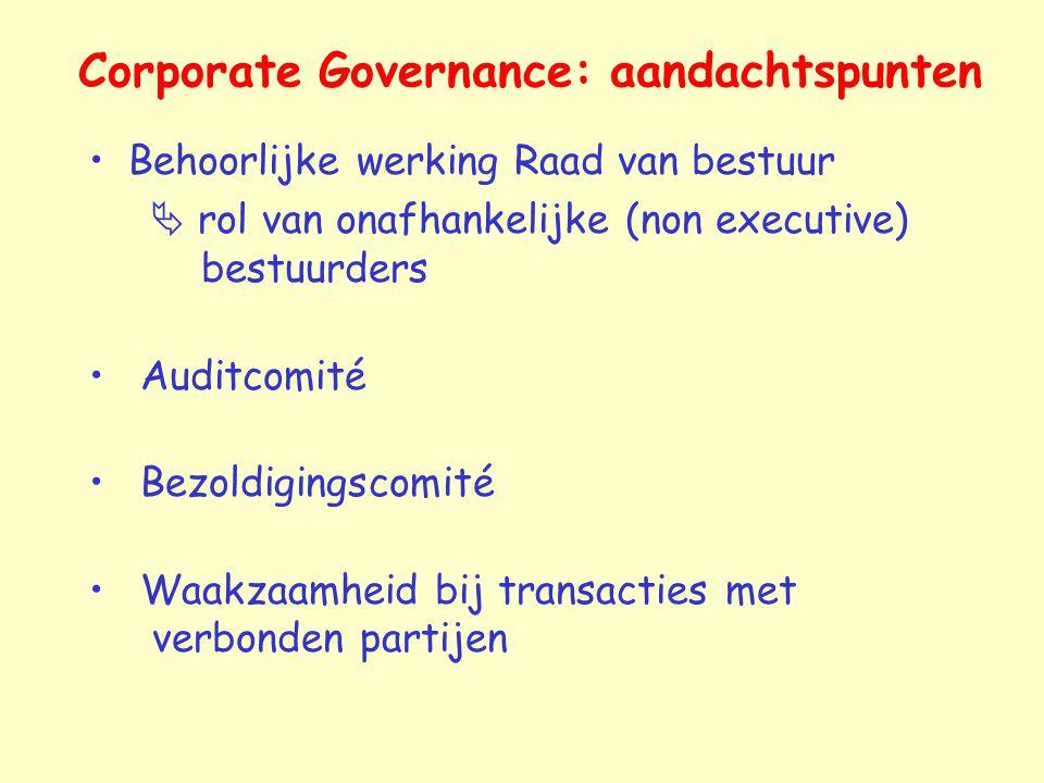Corporate Governance: aandachtspunten Behoorlijke werking Raad van bestuur  rol van onafhankelijke (non executive) bestuurders Auditcomité Bezoldigin