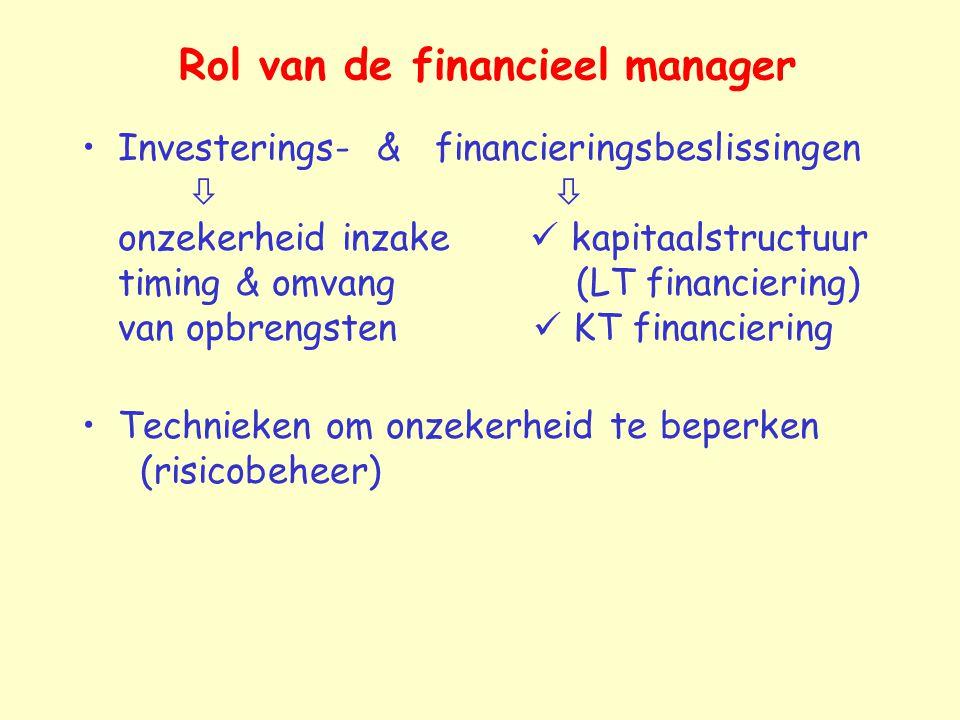 Investerings- & financieringsbeslissingen   onzekerheid inzake kapitaalstructuur timing & omvang (LT financiering) van opbrengsten KT financiering T