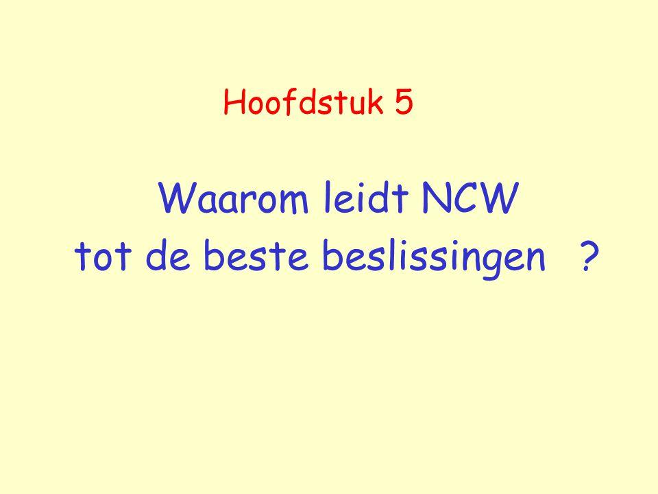 Hoofdstuk 5 Waarom leidt NCW tot de beste beslissingen ?