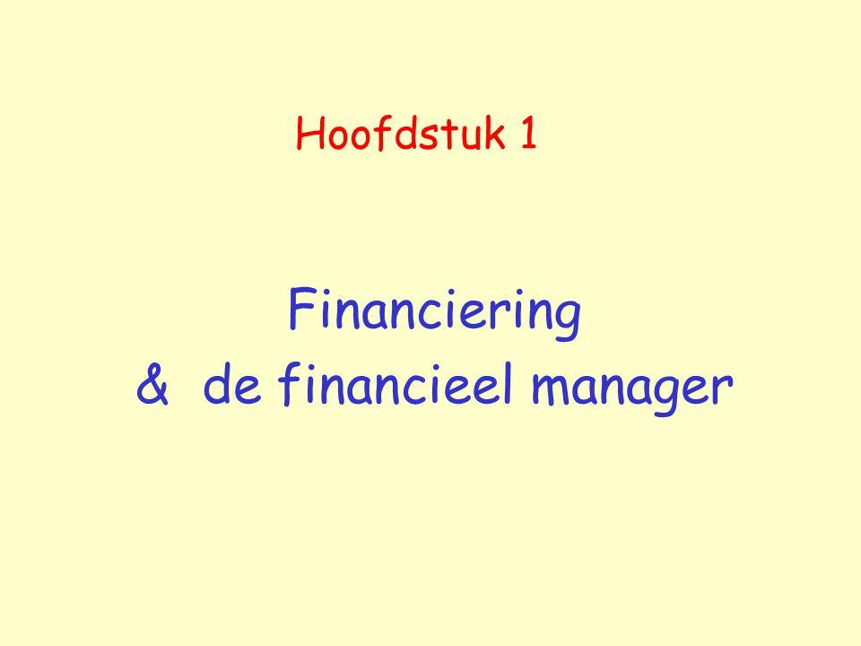 Hoofdstuk 1 Financiering & de financieel manager