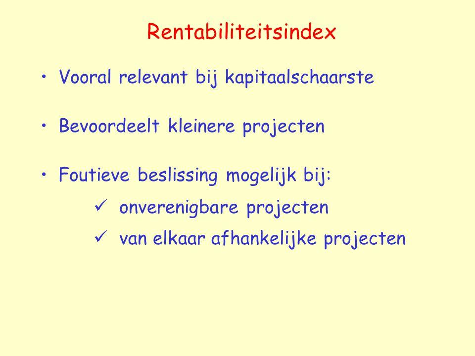 Rentabiliteitsindex Vooral relevant bij kapitaalschaarste Bevoordeelt kleinere projecten Foutieve beslissing mogelijk bij: onverenigbare projecten van