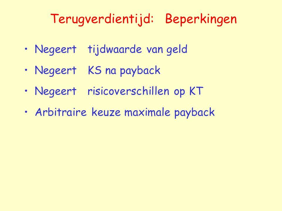 Terugverdientijd: Beperkingen Negeert tijdwaarde van geld Negeert KS na payback Negeert risicoverschillen op KT Arbitraire keuze maximale payback