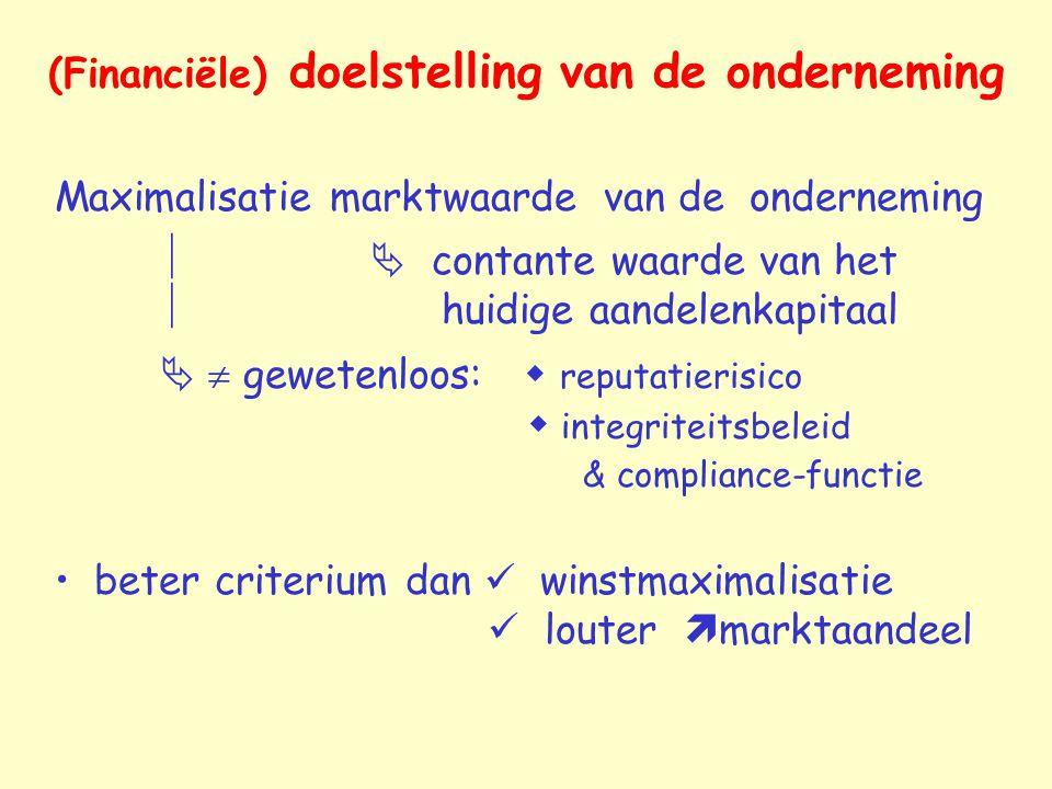 (Financiële) doelstelling van de onderneming Maximalisatie marktwaarde van de onderneming   contante waarde van het  huidige aandelenkapitaal   g