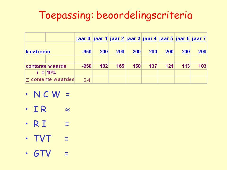 Toepassing: beoordelingscriteria N C W = I R  R I = TVT = GTV =