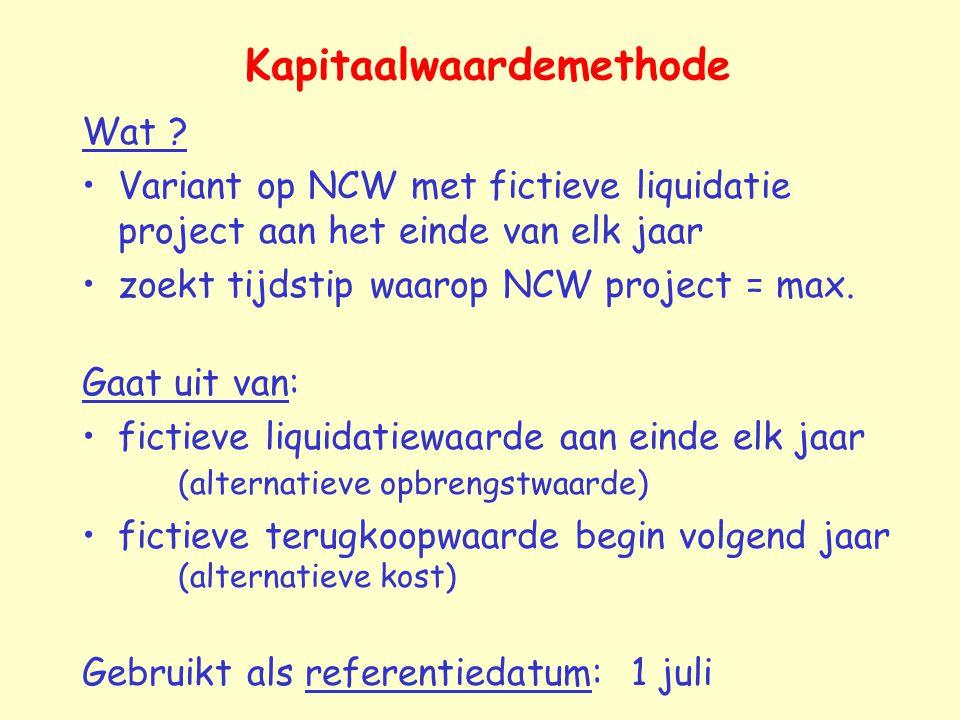Kapitaalwaardemethode Wat ? Variant op NCW met fictieve liquidatie project aan het einde van elk jaar zoekt tijdstip waarop NCW project = max. Gaat ui