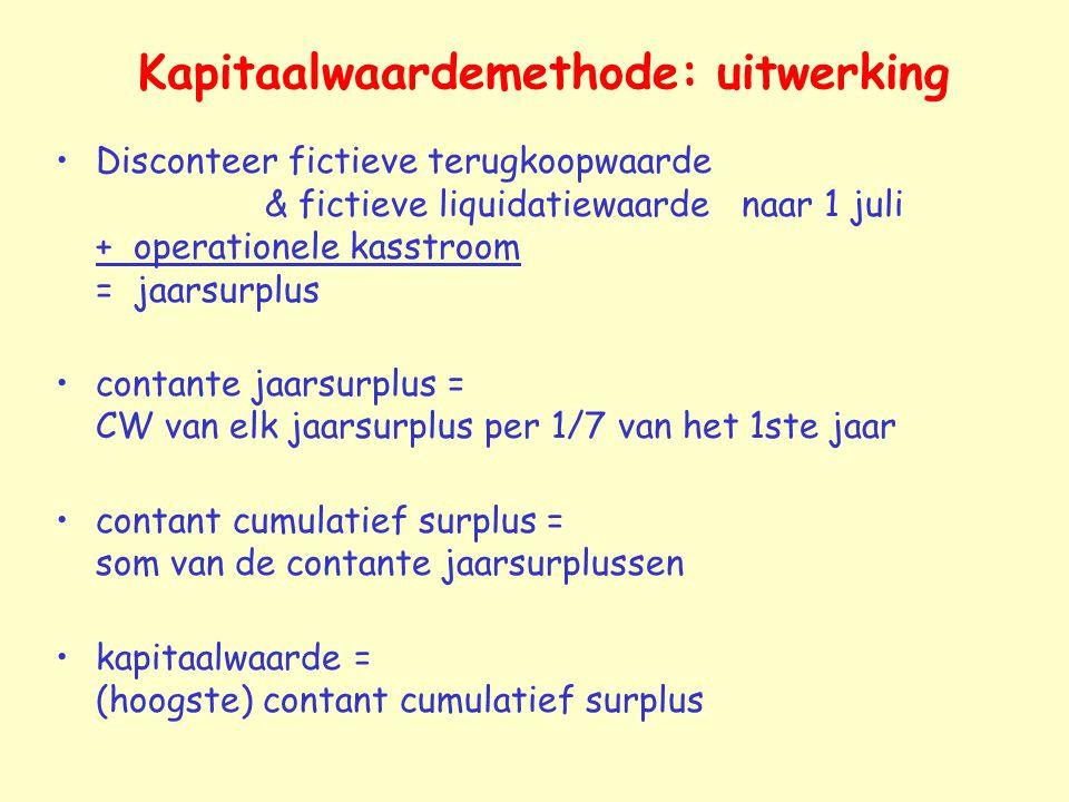 Kapitaalwaardemethode: uitwerking Disconteer fictieve terugkoopwaarde & fictieve liquidatiewaarde naar 1 juli + operationele kasstroom = jaarsurplus c